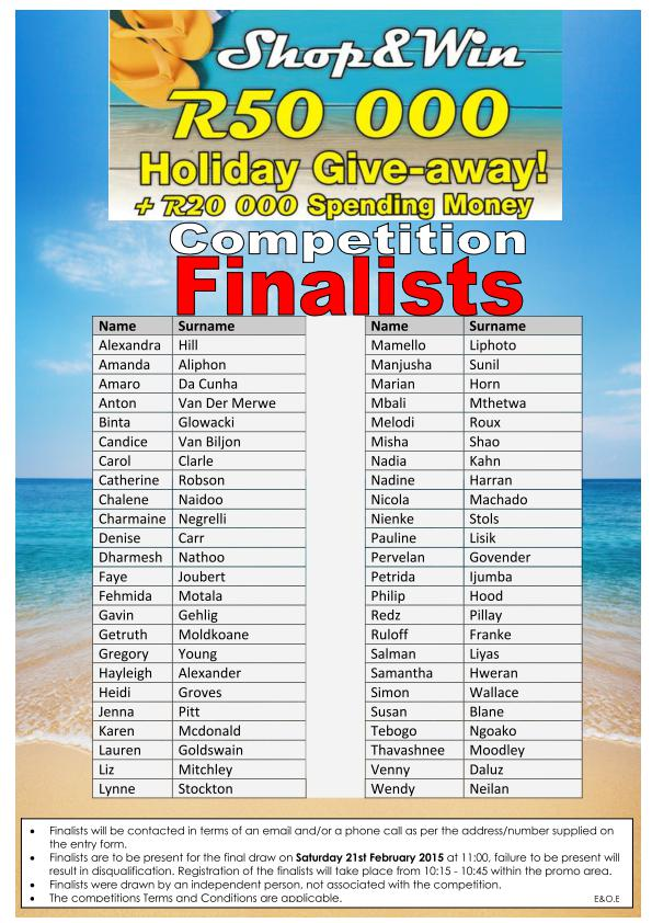 Sunninghill WIN a Holiday Finalists 2015 page 001